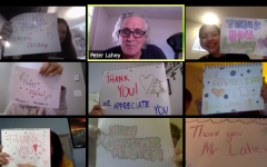 Students in Lahey's (top center) AP History class, including Kaylin Seward (top left) and Jackelyne Abranches (top right), show their appreciation through posters and turning on their Zoom cameras shortly before holiday vacation.