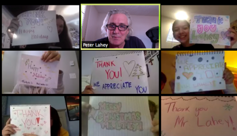 Students in Laheys (top center) AP History class, including Kaylin Seward (top left) and Jackelyne Abranches (top right), show their appreciation through posters and turning on their Zoom cameras shortly before holiday vacation.